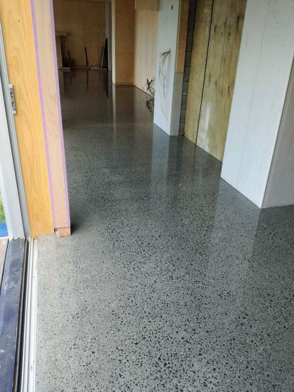 mangawhai beach home concrete floor polishing