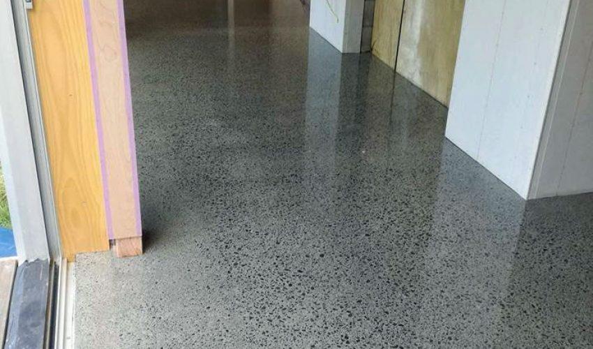 mangawhai beach home concrete floor polishing